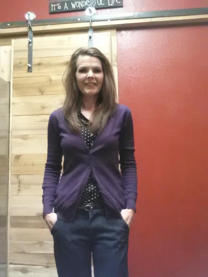 Day 6 - Denim Trousers, Black Polka Dot Top + Purple Cardigan