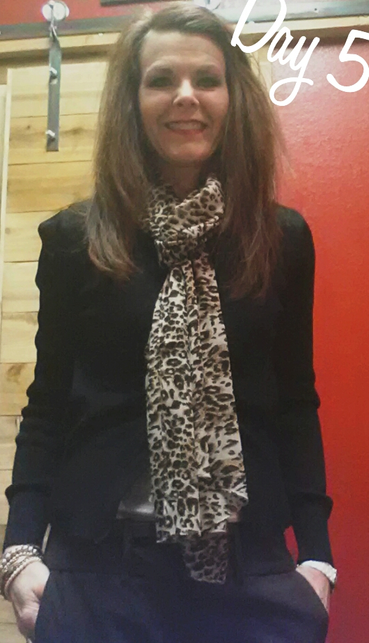 Day 5 - Brown Trousers, Cream Top + Black Cardigan w/a little leopard print scarf