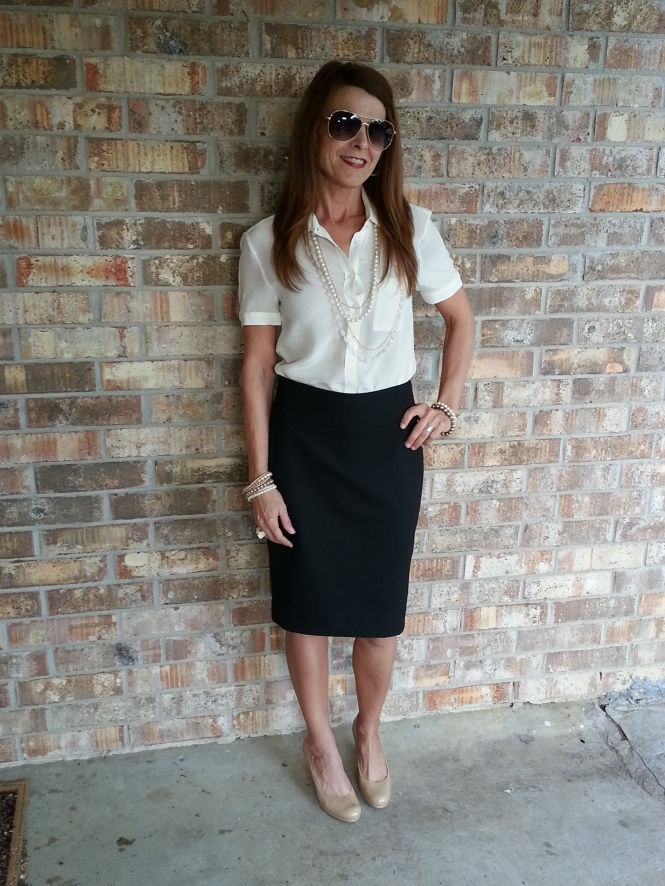 Pencil Skirts, Blouse, Pearls & Nude Pumps