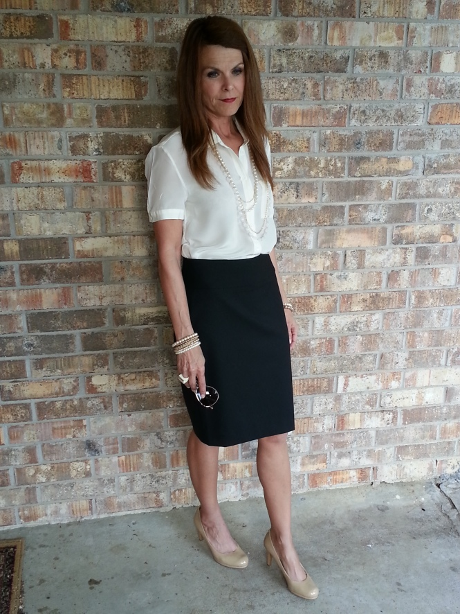 Pencil Skirt, Blouse, Pearls & Nude Pumps
