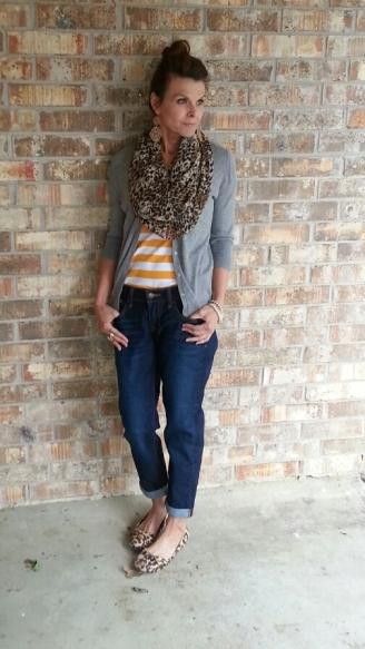 BF Jeans, Striped Tank, Cardi & Scarf