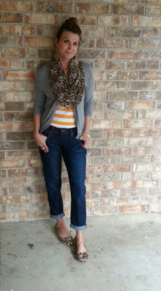 BF Jeans, Striped Tee, Cardi & Scarf